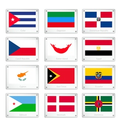 The National Flags on Metal Texture Plates vector image