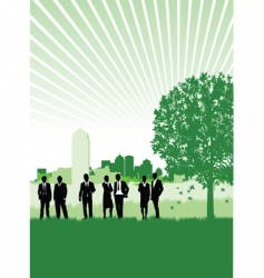 cityscape meadow people vector image vector image