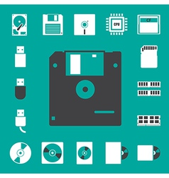 Computer and storage icons set eps 10 vector