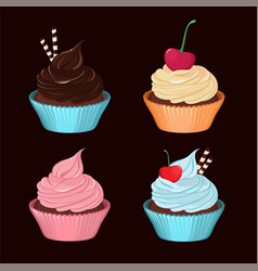 cupcakes set of tasty cupcakes with cream vector image