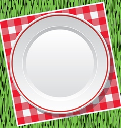 picnic tablecloth and empty plate vector image vector image