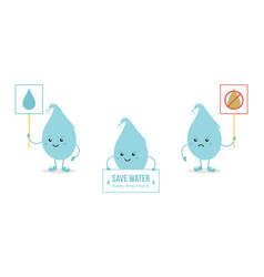 set of cartoon doodle water drop characters vector image vector image