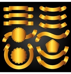 Set of golden banners ribbons and labels vector