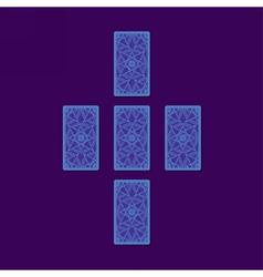 Simple cross tarot spread Tarot cards back side vector image