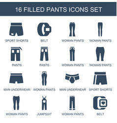 16 pants icons vector
