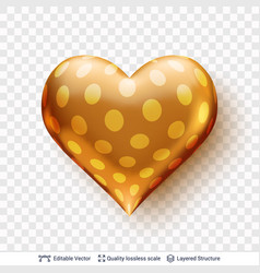 3d heart with pattern of golden circles vector image
