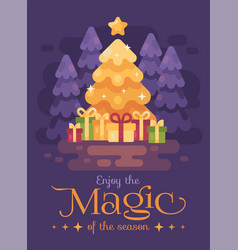 A big bright shinning christmas tree with vector