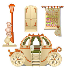 A set of furniture for child room is isolated vector