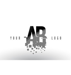 Ab a b pixel letter logo with digital shattered vector