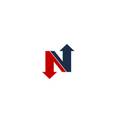 Arrow letter n logo icon design vector