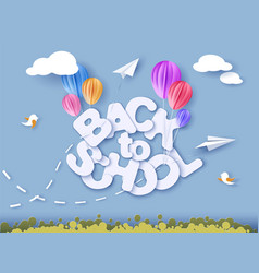 Back to school banner with air balloons vector