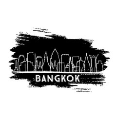 Bangkok thailand city skyline silhouette hand vector