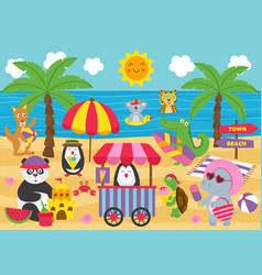 basic rgbanimals relax on beach vector image
