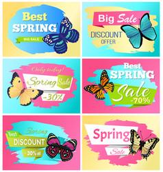 Best spring discount 30 off labels butterflies vector
