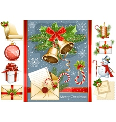Big collection of Christmas objects vector