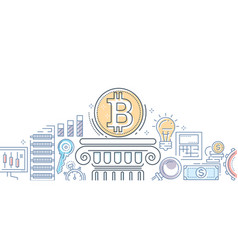 Bitcoin business - colorful line design style vector