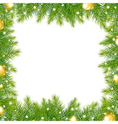 Border With Christmas Tree And Gold Ball vector image vector image
