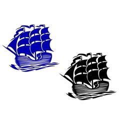 Brig sail ship vector