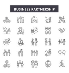business partnership line icons signs set vector image