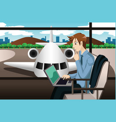 business traveler waiting in the airport vector image