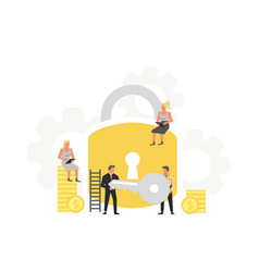Businessman hold a key from a large padlock vector