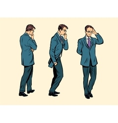 businessman thinks goes poses figure man vector image