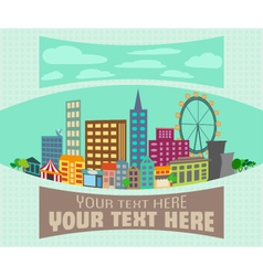 Cartoon city view flat background vector