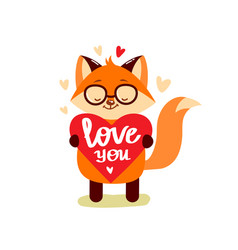 cartoon cute fox with heart vector image