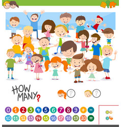 Cartoon game of counting children vector