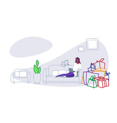 casual woman sitting on couch using computer vector image