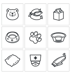 Cat icon set vector image