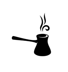 Cezve turkish coffee black silhouette vector image