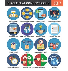 Circle Colorful Concept Icons Flat Design Set 7 vector image