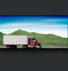 Classic truck driving on highway on background vector