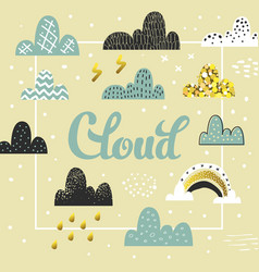 clouds and sky spring design childish background vector image