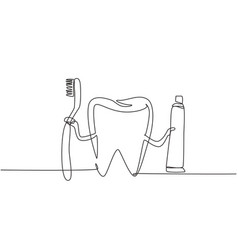 continuous one line drawing giant tooth holding vector image