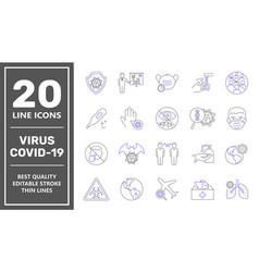 coronavirus line icon set coronavirus protection vector image
