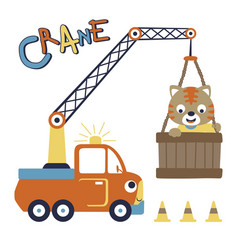 Crane truck with little cat cartoon vector