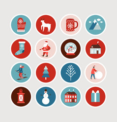 cute christmas and new year stickers set vector image
