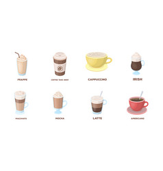 Different kinds of coffee icons in set collection vector