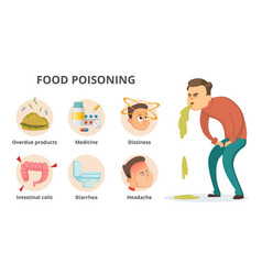different symptoms of food poisoning infographic vector image