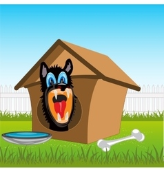 Dog in kennel vector