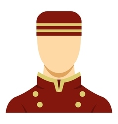 Doorman in red uniform icon vector