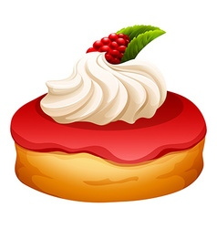 Doughnut with rasberry jam vector