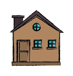 drawing cottage wooden chimney exterior vector image