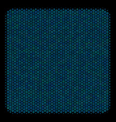 Filled square collage icon of halftone spheres vector