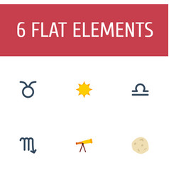 flat icons bull optics comet and other vector image