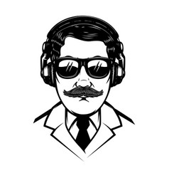 gentleman with headphones and sun glasesdesign vector image