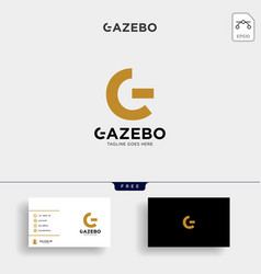 Gold letter g creative logo with business card vector