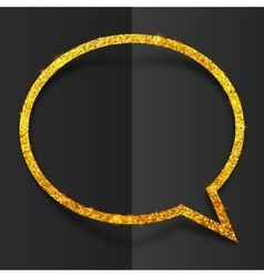 Golden glitter speech bubble frame isolated on vector